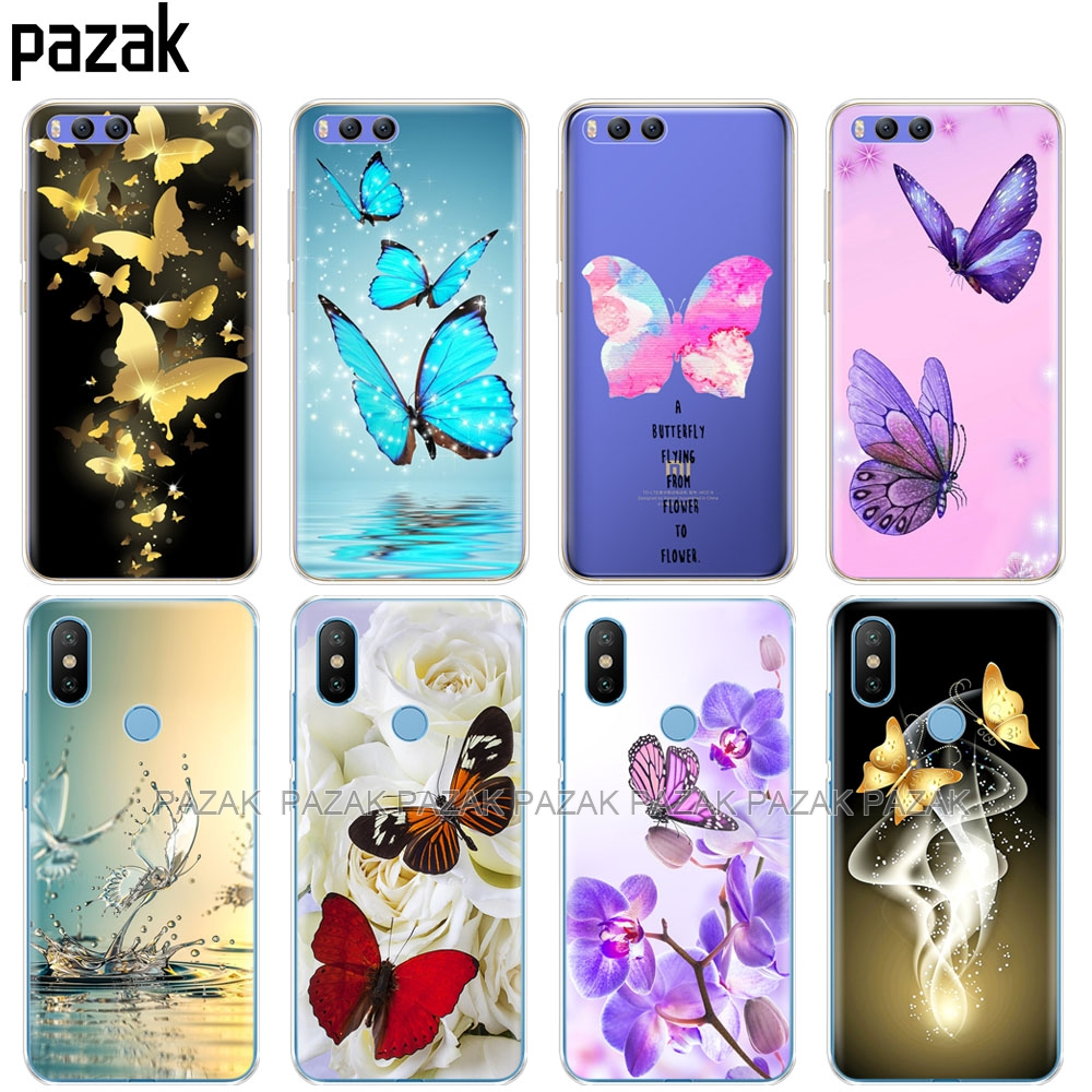 Silicone Cover <font><b>Case</b></font> For Xiaomi <font><b>Mi</b></font> 8 <font><b>8SE</b></font> A1 A2 5 5S 5X 6 Mi5 MI6 NOTE 3 MAX Mix 2 2S butterfly roses flower image