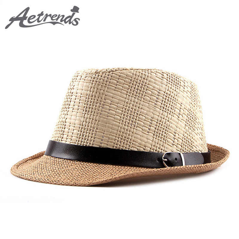 3f1b03bb79f [AETRENDS] 2018 New Summer Beach Straw Jazz Cap Panama Hats for Men Fedoras  Hat