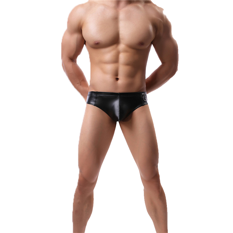 Faux Black Leather Men Underpants Mini Silver Metal Ring Decoration Stage Show Underwear Male Shorts Sexy Boxers Shorts