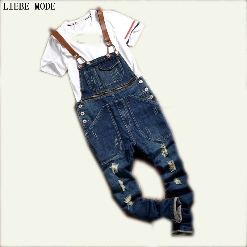2016 Male Bib Pants One Piece Spaghetti Strap Overalls Slim Ripped Jeans For Men Denim Overalls Mens Jumpsuit Free Shipping hot sales 2014 fashion denim bib pants female spaghetti strap slim jeans pants hot selling jumpsuit free shipping