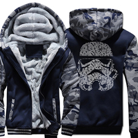 Sweatshirt For Male 2018 Winter Thick Hoodies Mens Zipper Tracksuit With Hat Print Darth Vader Men's Sportswear Harajuku Hipster
