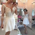Elegant Ivory Lace Cocktail Dress 2017 Pearls Cap Sleeve Sexy V Neck Robe de soiree Mini Party Dresses Short Vestidos coctel