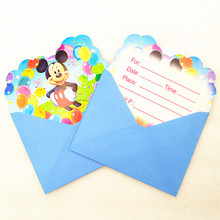 6pc Mickey Mouse Invitation Cards with Envelopes Kid Birthday Party Decoration baby shower invitations event party