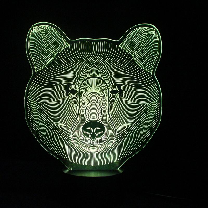 Smart 3D Function LED Night Lights with Brown Bear Pattern Table Lamp for Babys & Kids Gifts