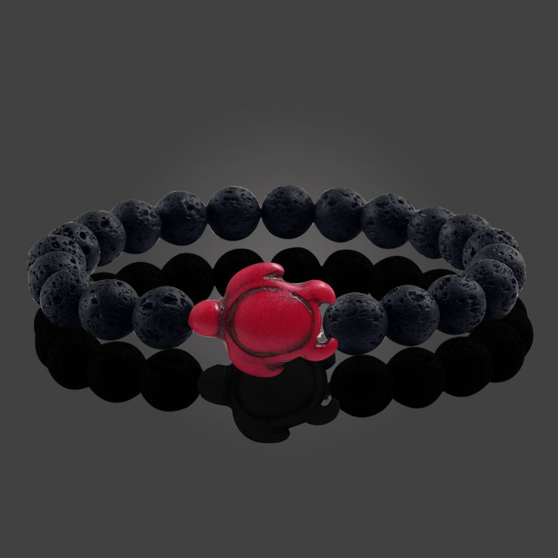 Summer Beach Sea Turtle Beads Bracelet for Men Charm Black Lava Natural Stone Strand Bracelets Elastic Women Boho Jewelry Gifts 2