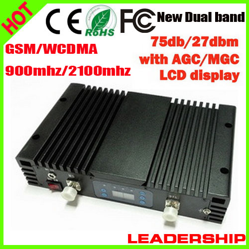 Wholesale 1 Watt 75db 27dbm GSM WCDMA W-CDMA 900MHZ 2100MHZ 1W Dual Band Cell/mobile Phone Repeater Booster Detector Repetidor