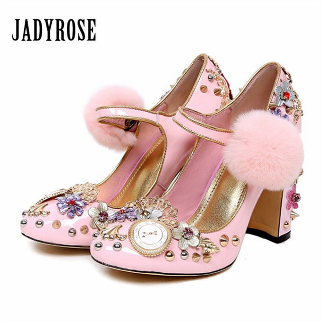 Jady Rose Pink Women Pumps Rivets Studded Chunky High Heels Mary Janes Ladies  Shoes Valentine Shoes Stiletto Wedding Shoes 370daf7a5110