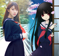 Japan Anime Hell Girl Enma Ai Cosplay Costume Women Halloween Cosplay clothes, school uniforms COS sailor suit TOP + Skirt + Tie