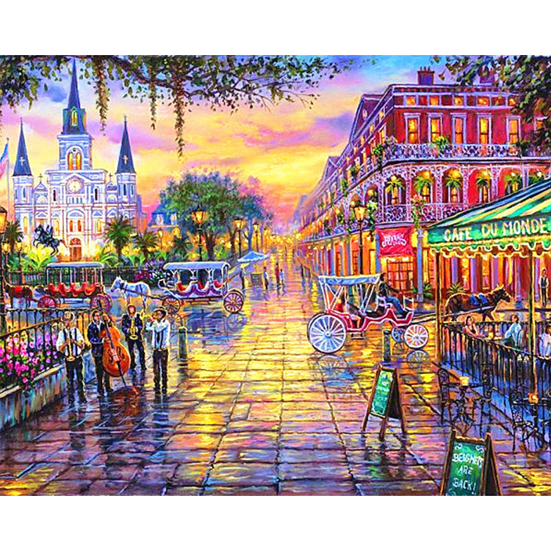 Jackson square New orleans Louisiana Landscape image 3D DIY diamond painting cross stitch diamond embroidery mosaic wall decor image