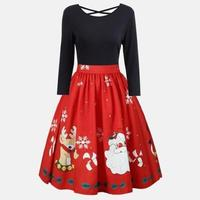 Autumn Winter Patchwork Women Vintage Dress 50s Rockabilly Retro Santa Christmas Party Dress Vestidos Plus Size