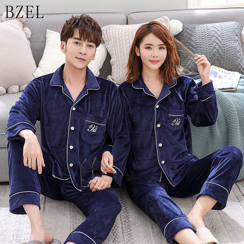 BZEL Autumn And Winter Couples Pajamas Sets Long Sleeve Sleepwear Warm Velvet Sleep Lounge Lovers Home Cloth Pyjamas  M-3XL 2pcs