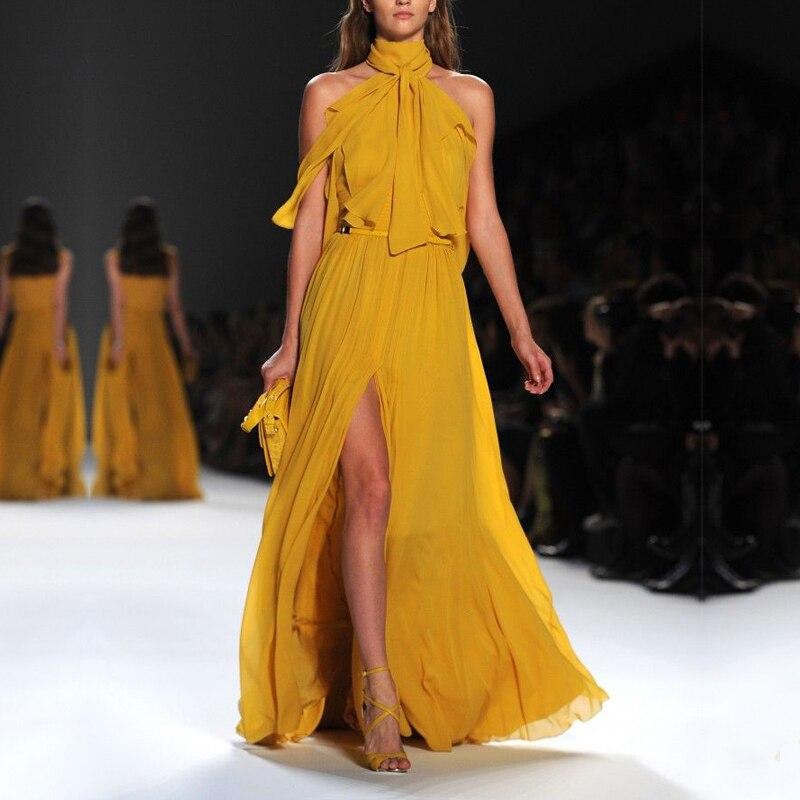 Haute qualité nouvelle mode 2019 Designer robe de piste femmes Sexy dos nu sans manches arc col licou à volants jaune robe de soirée