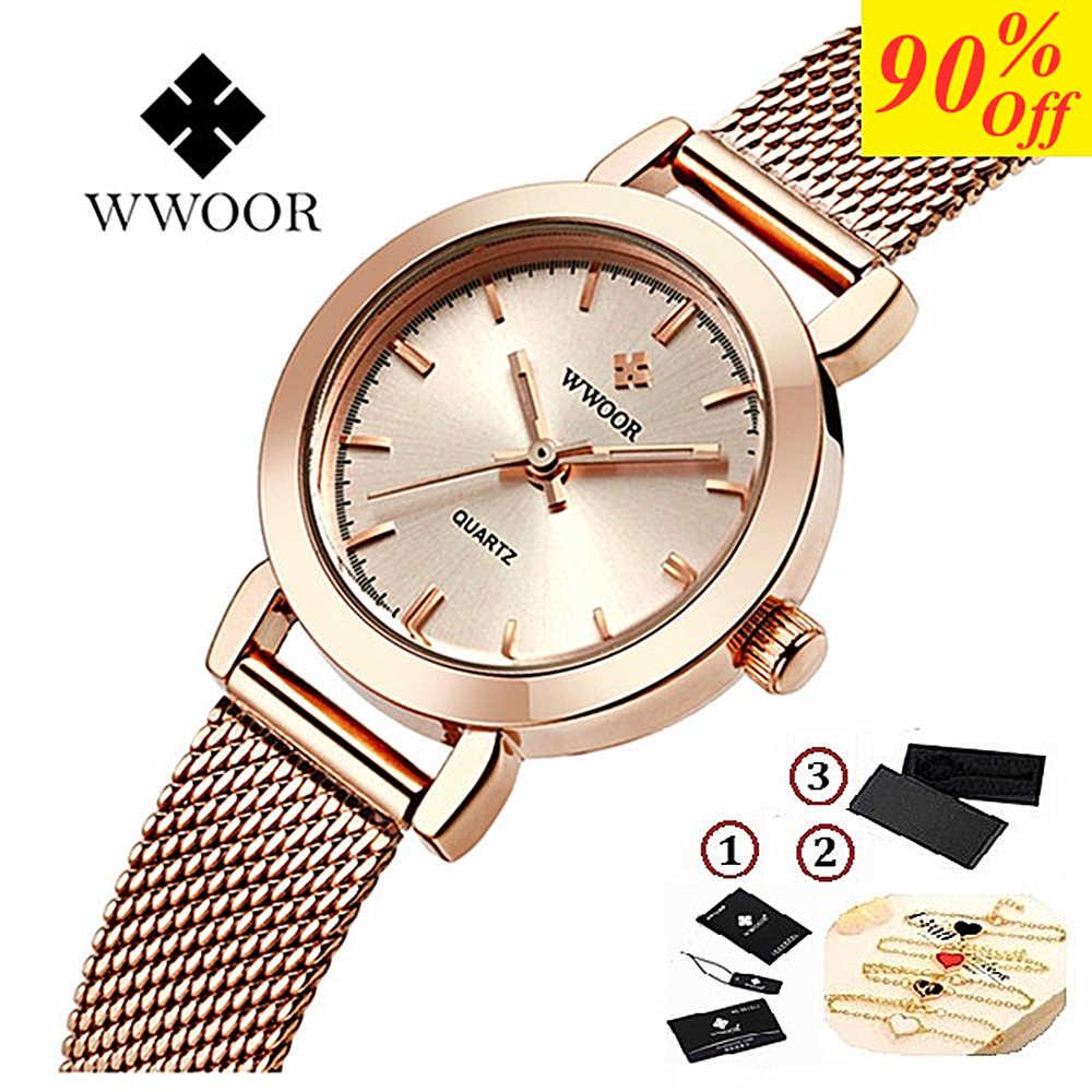 WWOOR kobiety ubierają zegarki luksusowe marki panie kwarcowy zegarek siatka ze stali nierdzewnej zespół dorywczo złota bransoletka zegarek reloj mujer