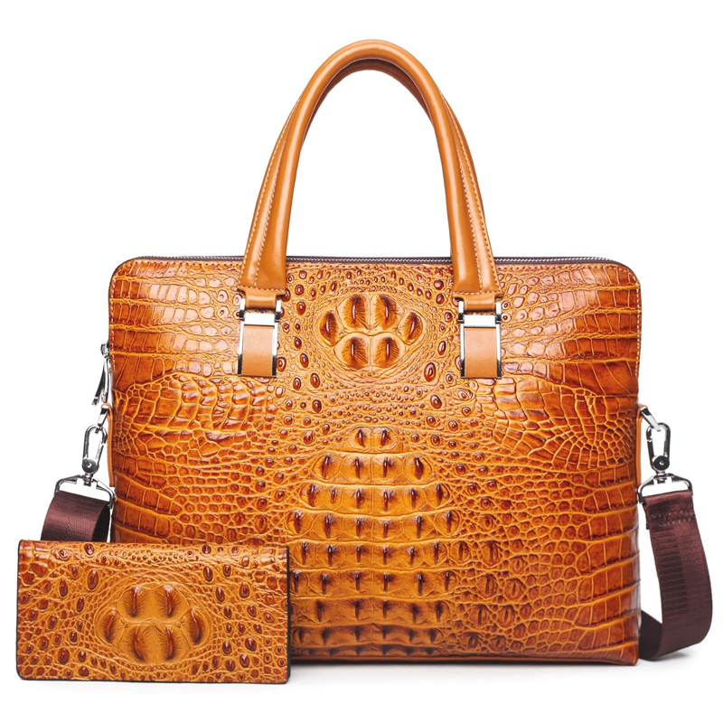 New Luxury 100% Cow Genuine Leather Business Men's Briefcase Male Shoulder Bag Alligator Messenger Bag Tote Computer Handbag