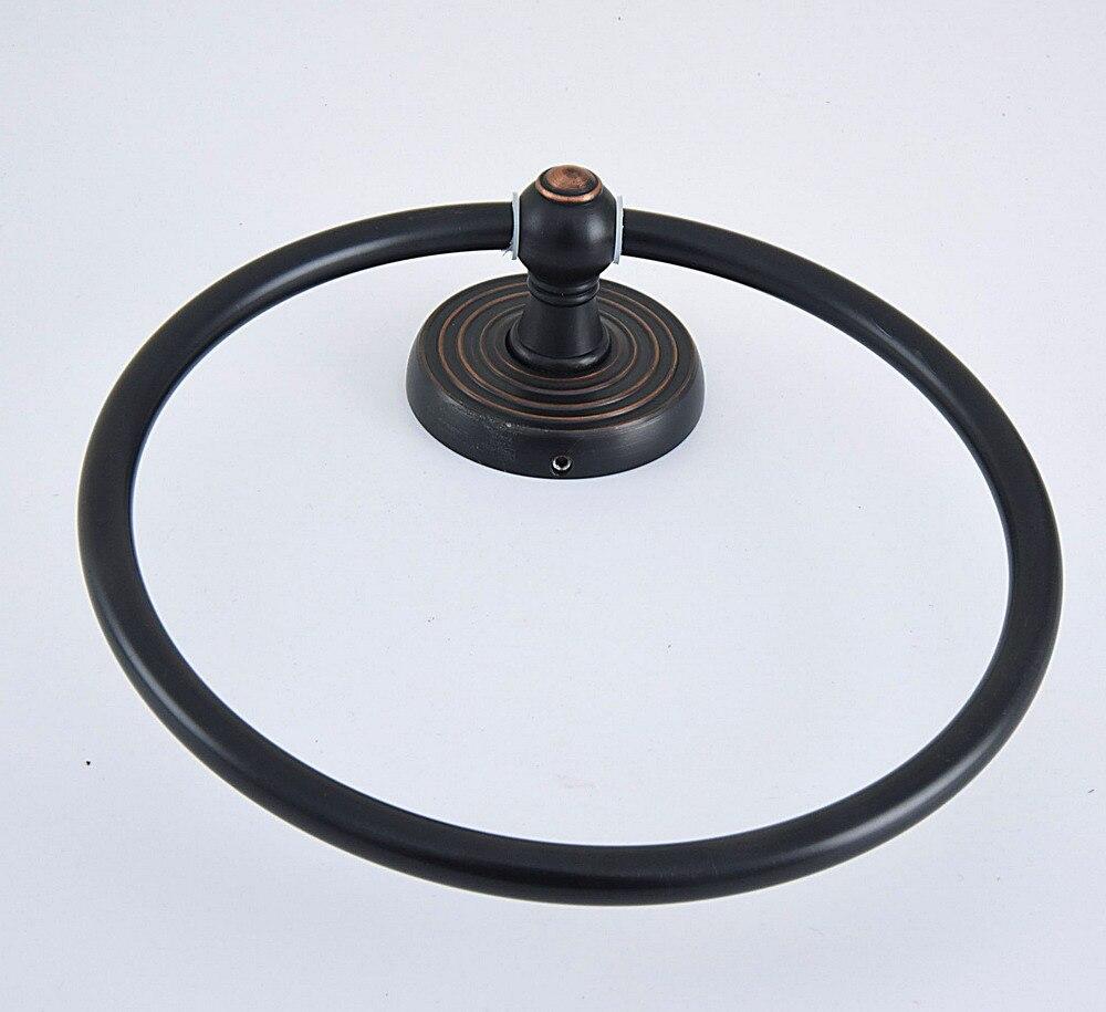 Черный масло натертый латунь ванная стена навесное полотенце кольцо держатель ванная аксессуары ванна фурнитура круг узор основание mba918