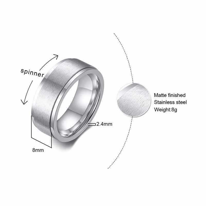 Vnox 6/8 มม.SPINNER แหวนสำหรับชายความเครียด Release อุปกรณ์เสริมสแตนเลสสตีลงานแต่งงานแบบสบายๆเครื่องประดับเครื่องประดับ
