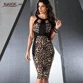 2017 limitada nueva rodilla-longitud de la envoltura del leopardo del verano de la vendimia sin mangas ninguno o-cuello oficina dress robe vestidos de fiesta 2246