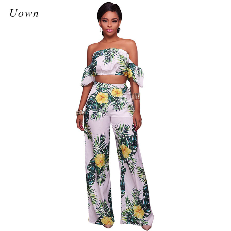 Floral Print Two Piece Pants Set Women Strapless Crop Top ...