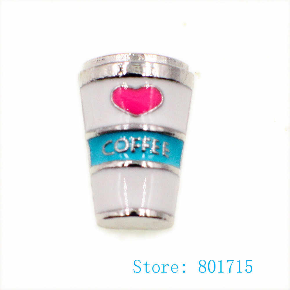 10pcs Coffee floating living charm for floating living memory locket wholesales FC1676 DIY Accessories as kids friends gift