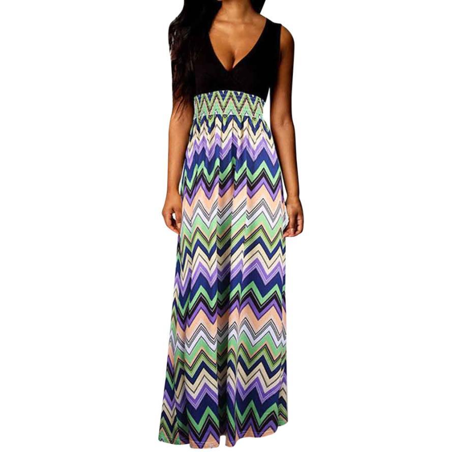 2019 Casual Womens Paisley Summer Beach Boho Long Maxi Dress Sleeveless Deep V-Neck Sexy Party Evening A-Line Dresses Vestidos