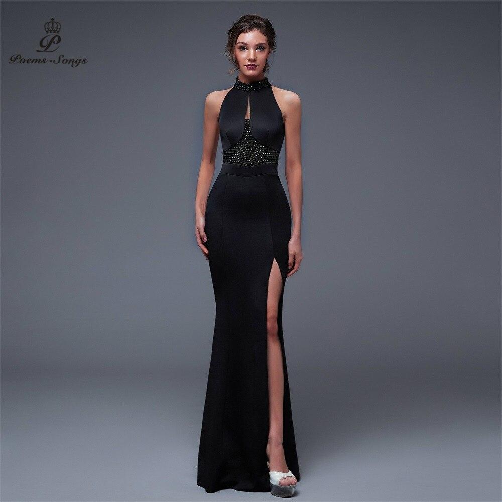 Poèmes Songs2019 dos nu élégant charme fente côté ouvert bal robe de soirée formelle vestido de festa élégant Vintage robe longue
