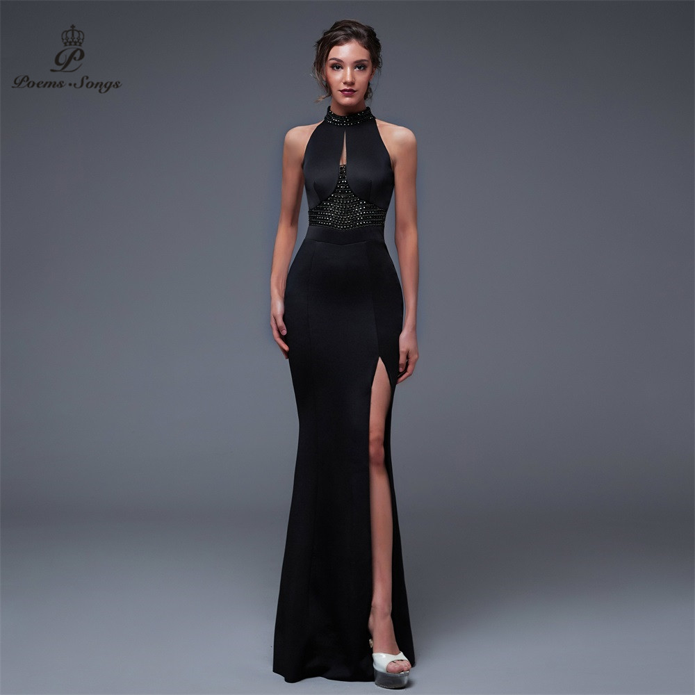 Poems Songs2019 Backless Elegant Charming Slit Side Open Prom Formal Party Dress Vestido De Festa Elegant Vintage Robe Longue