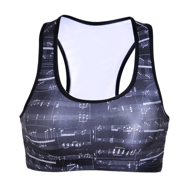 2a1f32730e1 Women Lady Sexy Hip Hop Tank Bustier Bra Woman s Black Cami Vest 3D Music  Note Crop