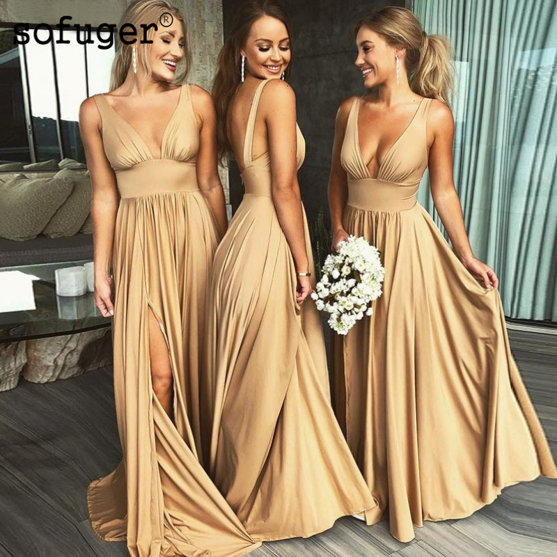 Champion Chiffon   Bridesmaid     Dresses   A line Straps Sexy V Neck Wedding Party   Dresses   High Slit Formal Special Occasion   Dress
