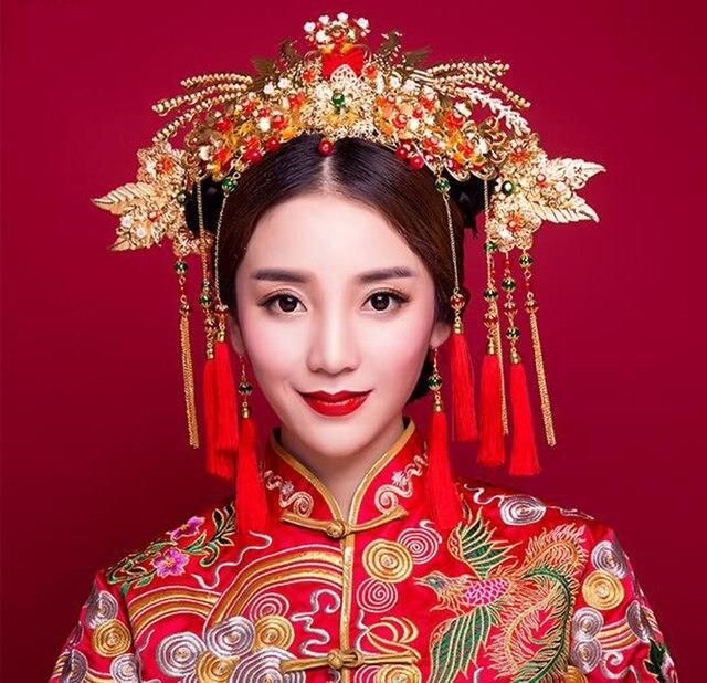 Chinese Traditional Bridal Headdress Tassels Hairpin Women Girl Red Beads Flowers Fashion Headband Wedding Jewelry