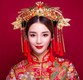 Muchacha de Las Mujeres de Las Borlas de la Horquilla Del Tocado Nupcial Tradicional china Red Beads Flores Venda de La Manera Joyería de La Boda
