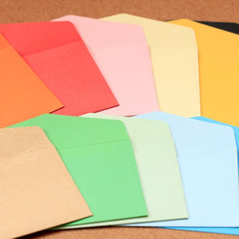 Купить с кэшбэком 100pcs/set Vintage 11*8cm small colored Pearl blank mini paper envelopes wedding invitation envelope /gilt envelope/12 color