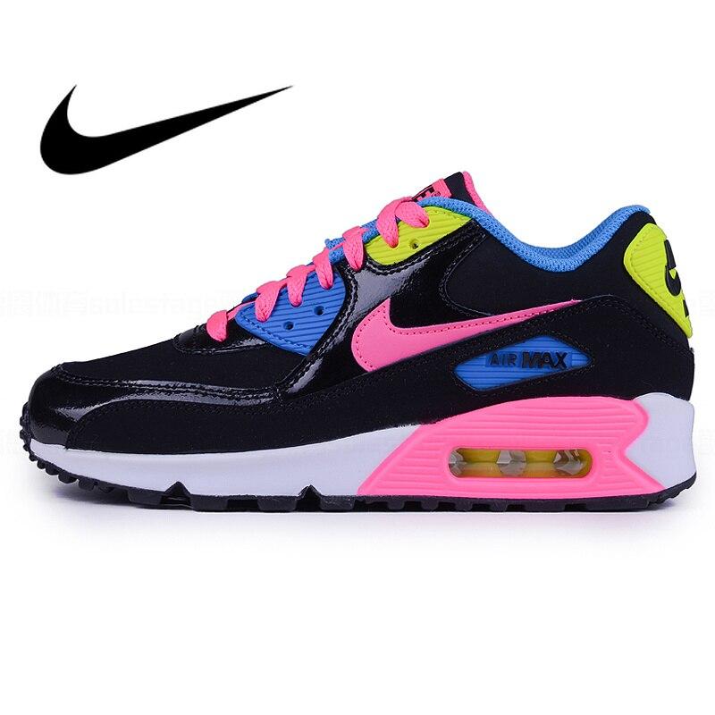 Officiel Véritable Nike Air Max 90 GS Noir espadrilles arc-en-ciel Femmes de chaussures de course Rétro Respirant à lacets Amorti 724855-004