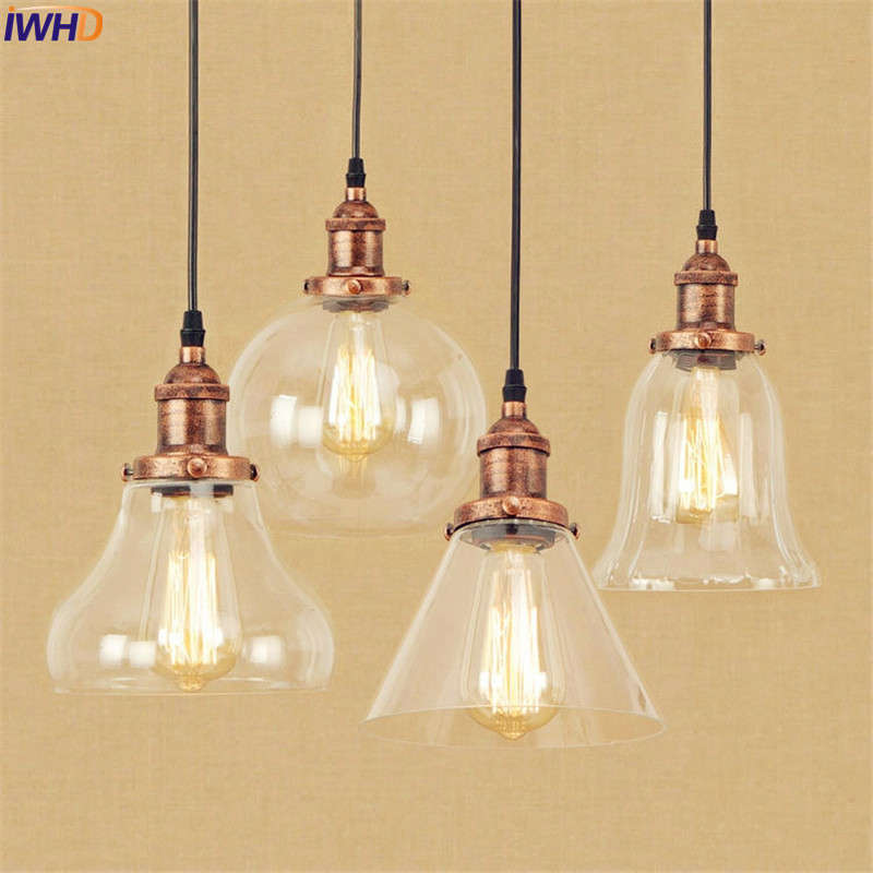Glass Edison Vintage Lamp American Style Loft Industrial Lighting Fixtutes Hanging Light Retro LED Pendant Lights Lampara loft vintage edison glass light ceiling lamp cafe dining bar club aisle t300