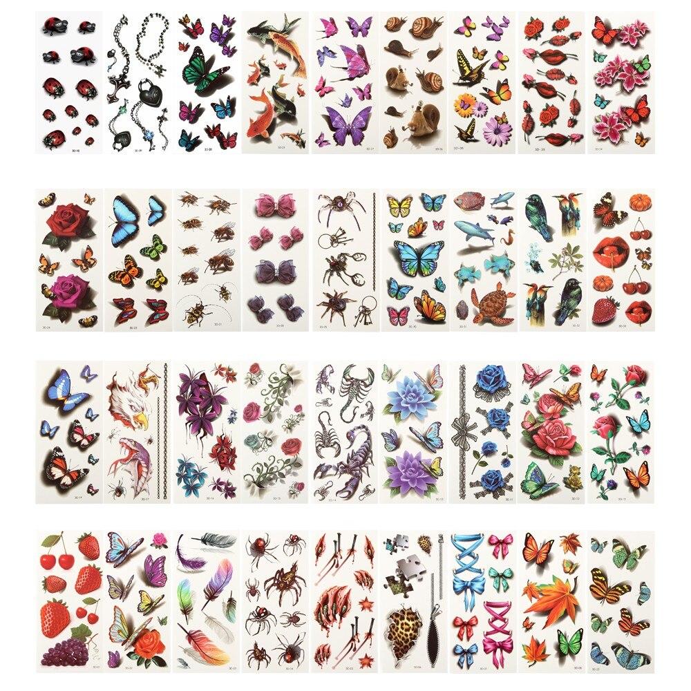 36 Sheets 3D Waterproof Temporary Tattoos For Women Girl Body Art Sleeve DIY Stickers Glitter Tattoo Beauty Exotic original 3d individuality design waterproof temporary tattoo stickers