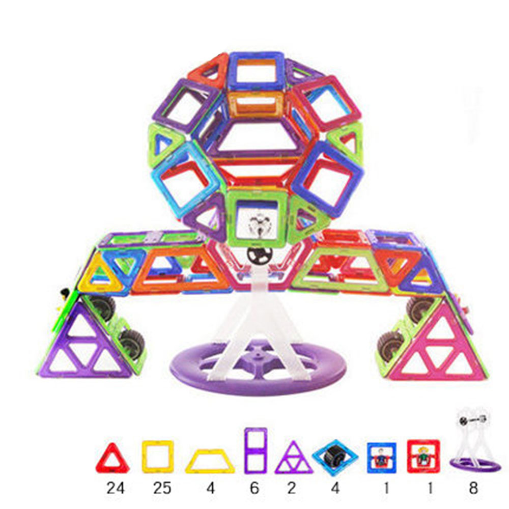 Amusement Park Shape Magnetic Designer Building Blocks Model & Building Toys Brick Enlighten Bricks Magnetic Toys for Children small car shape magnetic designer building blocks model