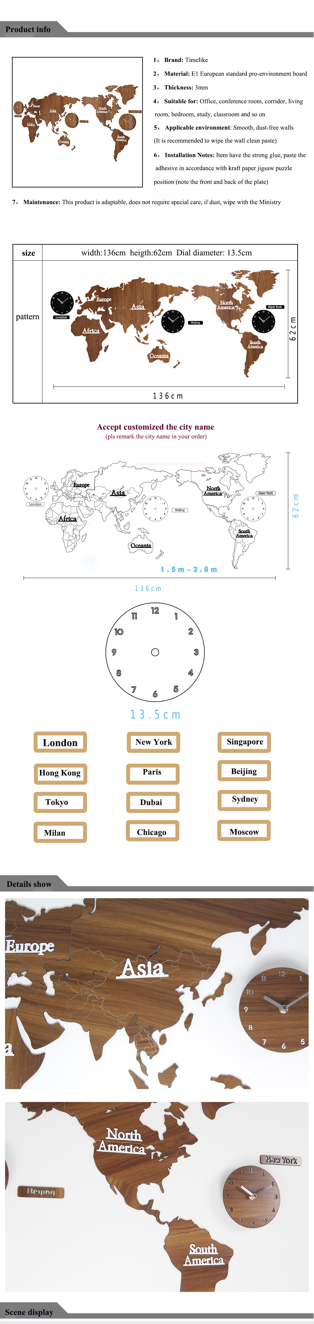 Creative world map wall clock wooden large wood watch wall clock zinc manganese dry battery will be better used in this clock color as the option pic showed material wood size137x63cm feature needle gumiabroncs Images
