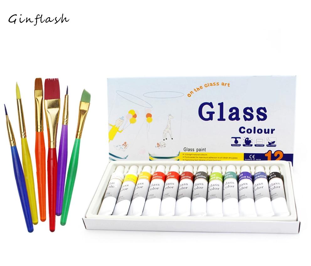 Glass Paint Color set Acrylic Paint Hand Painted Pigments 12 Colors 12ML Color art set with 6pcs paint brushes свитшот print bar paint color