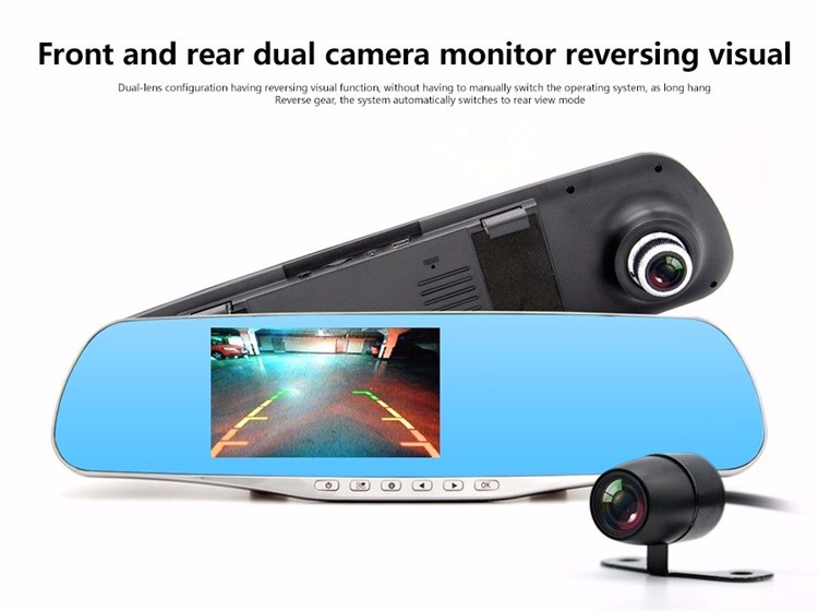 FHD 1080P car camera 4.3-inch Mirror Rearview screen dual lens Car DVR Night Vision rearview mirror auto dvrs Stop Recording 11
