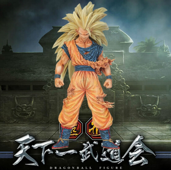 21cm dragon ball Super saiyan three Battle damage Edition Son Goku Kakarotto action figure toys Christmas doll toy