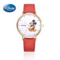 Disney Mickey Mouse Children Boys Girls Leather Quartz Casual Wristwatch Students Watches Waterproof Brown Red Pink