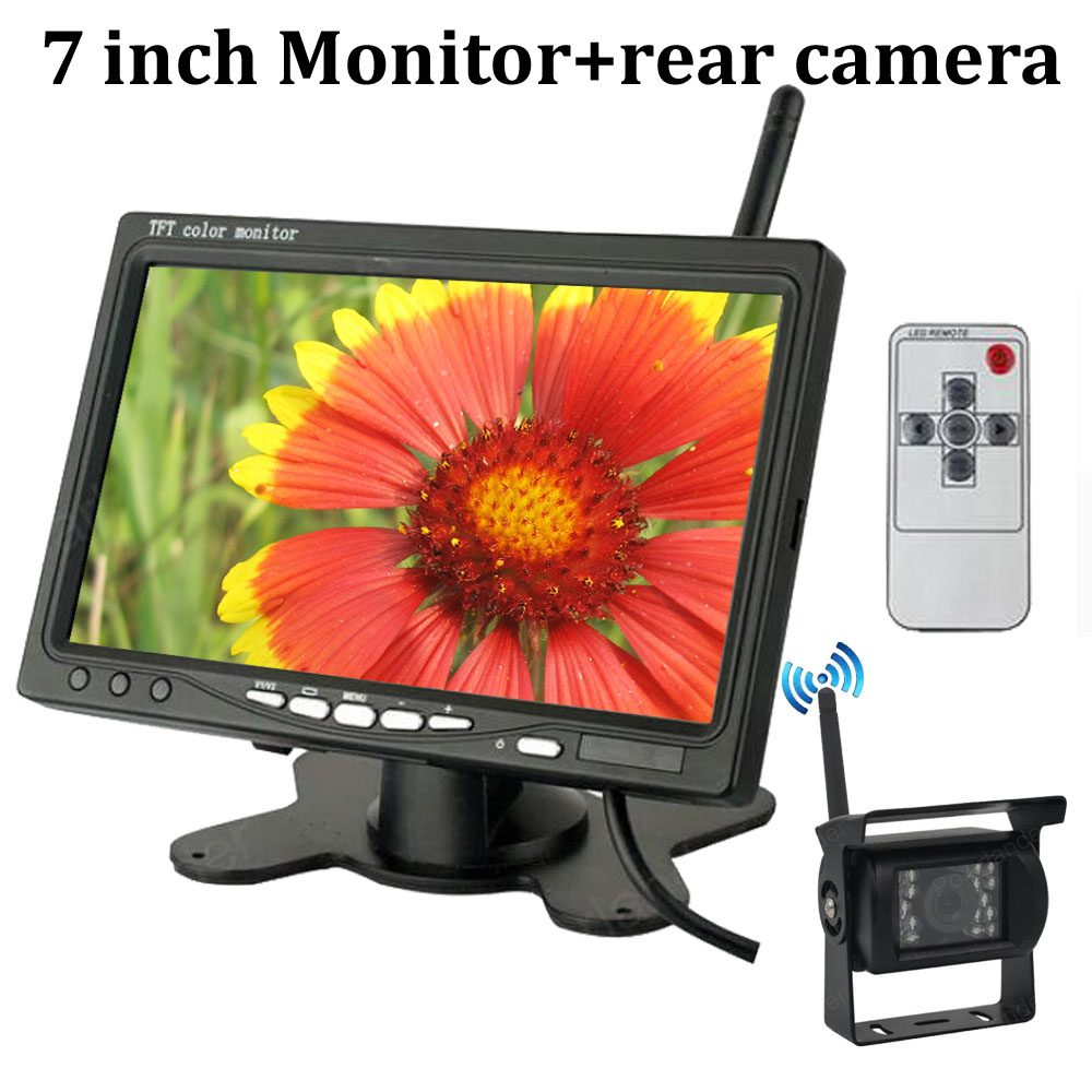 7 inch TFT LCD Wireless Car Rear View Monitor with IR Night Vision Rearview Camera Parking System for 24V Truck Coach Bus 7 inch tft lcd color auto car monitor 2 video input car rear view parking monitor wireless 10 ir car rear view reverse camera
