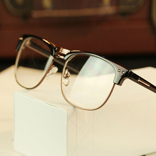 98606ce956 Fashion Metal Half Frame Glasses Frame Retro Woman Men Reading Glass UV  Protection Clear Lens Computer