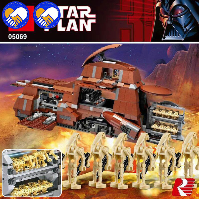 A Toy A Dream Star War The Federation Transportation Tank MTT 1338pcs 05069 Building Blocks Bricks Toys Model Compatible rollercoasters the war of the worlds