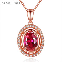 Sterling Silver S925 Necklace Lady Ruby Pendant Oval Inlaid Diamonds Gold Plated Necklace Pendant Europe And