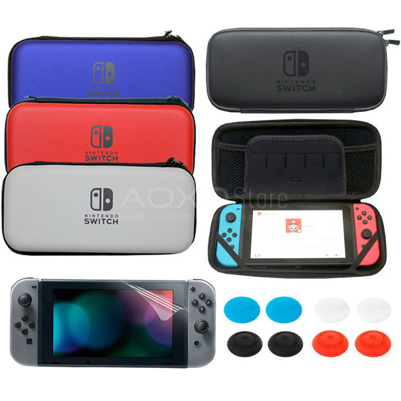 Hard Travel Protective Pouch Bag For Nintendo Switch NS Game Console For Nintendo Switch Carrying Case & Screen Protector protective hard artificial leather carrying pouch for nintendo 3ds white