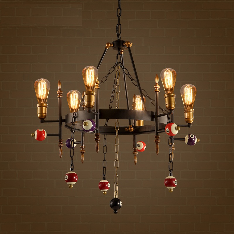 Loft Style Creative Billiards Droplight Edison Pendant Light Fixtures For Dining Room Hanging Lamp Vintage Industrial Lighting loft style creative cement droplight edison industrial vintage pendant light fixtures for dining room hanging lamp lighting