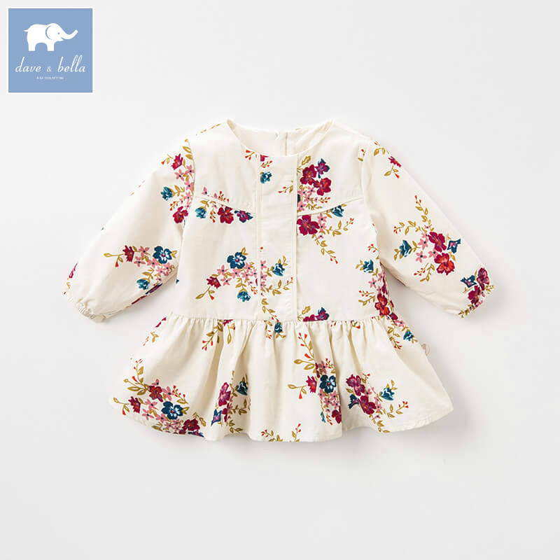 DBA7917 dave bella autumn baby long sleeve dress girls floral dress children party birthday high quality clothing db8431 dave bella baby autumn knitted dress girls long sleeve dress children party birthday costumes