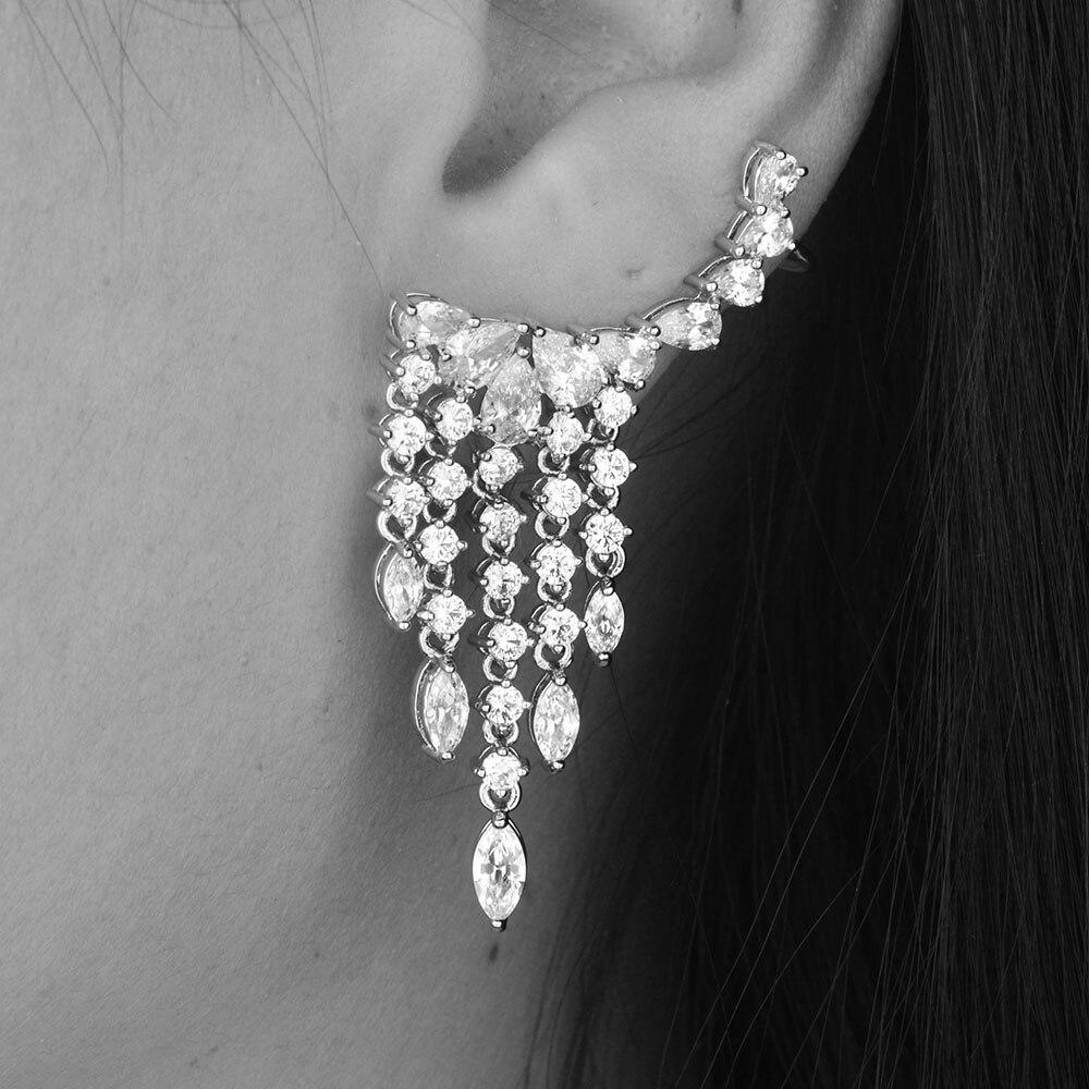 GODKI zbrusu nové horké módy Populární luxusní kapka vody Cubic Zirconia Ear Clip Svatební náušnice pro ženy