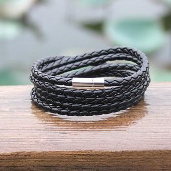 Outdoor Fashionable Survival Leather Metal Buckle Bracelet