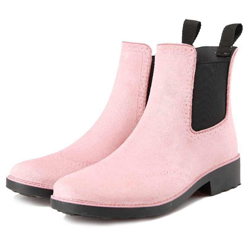 Rouroliu Women Ankle Elastic Band Rain Boots Waterproof Water Shoes Woman Wellies Autumn Winter Short Dress Boots RT378